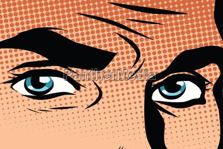 retro, männliche, blaue, augen, pop, art - 17616486