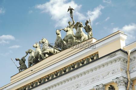 low angle view of quadriga statues