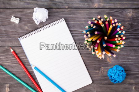 office supplies on grayish background