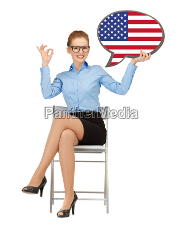 smiling woman with text bubble of