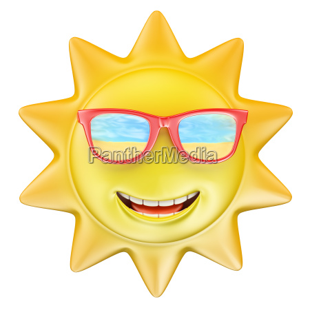 3d summer sun smiling with glasses