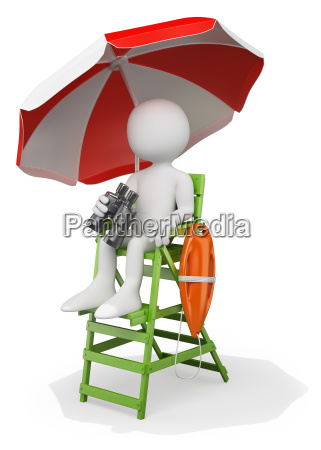 3d white people lifeguard at the