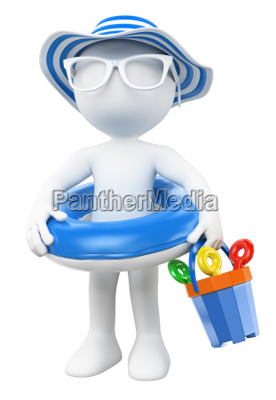 3d white people little girl with
