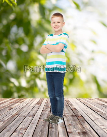 smiling little boy in casual clothes