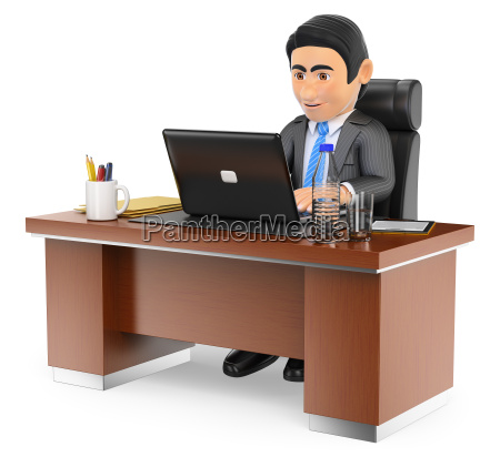3d businessman working in the office