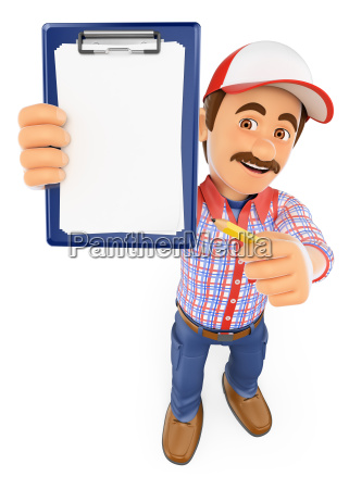 3d worker with blank clipboard and
