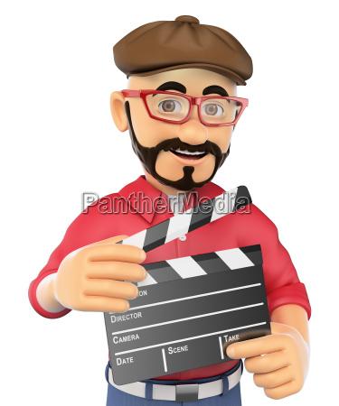 3d filmregisseur mit einer klappe