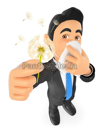 3d businessman with pollen allergy