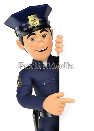 3d policeman pointing aside blank space