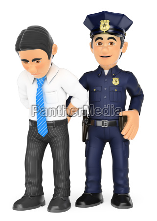 3d policeman arresting a thief white