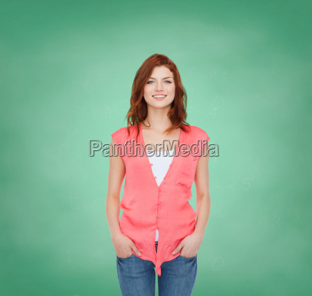 smiling teenage girl in casual clothes