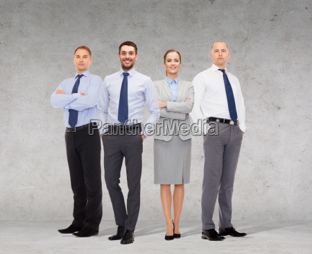 group of smiling businessmen over white