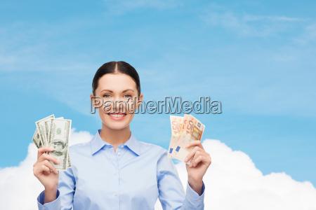 businesswoman with dollar cash money