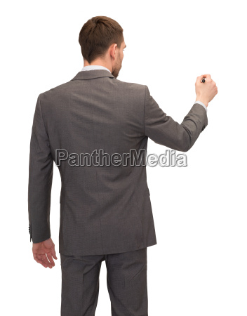 businessman or teacher with marker from