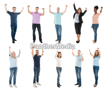 creative business team with arms raised