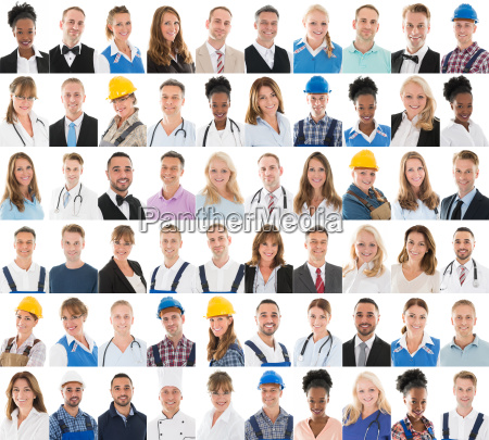 people with different profession in row