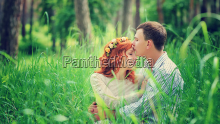 loving couple in the forest