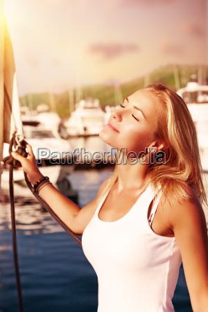 woman enjoying energy of the sun