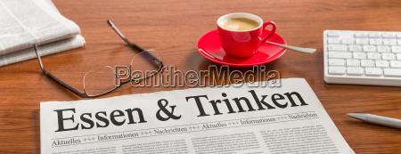 newspaper desk food and beverages