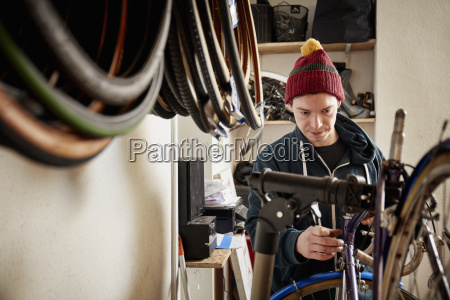 a young man working in a