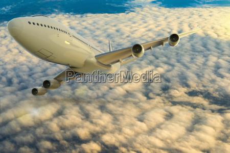digital illustration of airplane in flight