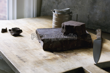 block of chocolate with knife on