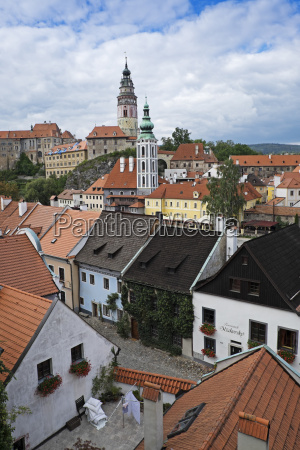 overview of rooftops with cesky krumlov