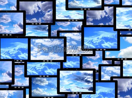 tabletten mit verschiedenen bildern von himmel
