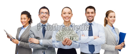 group of business people with dollar