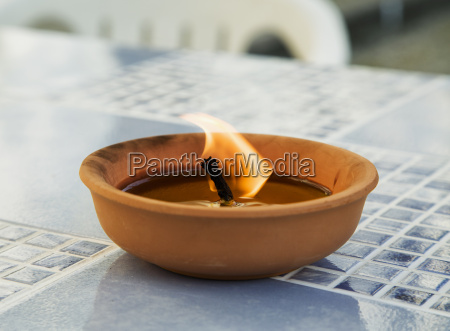 outdoor burning candle