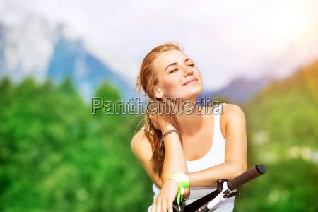 cyclist woman portrait