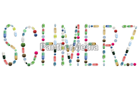 medicine pills colorful tablets letters word