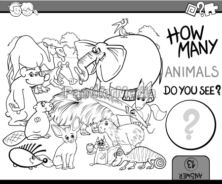 count the animals coloring book