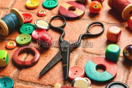 scissors beads and thread