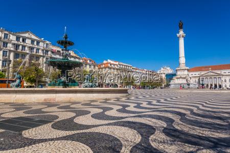 lissabon portugal stadtbild am rossio platz