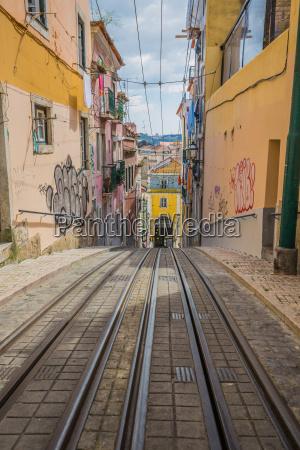 gelbe tram im zentrum von lissabon