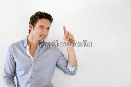 young man pointing at message on