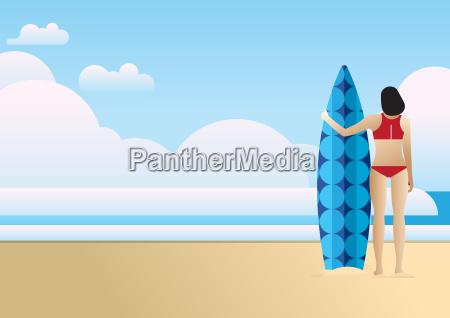 woman watching the ocean surf