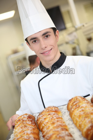 young man in pastry training course