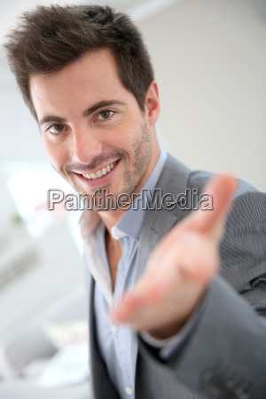 businessman showing modern place