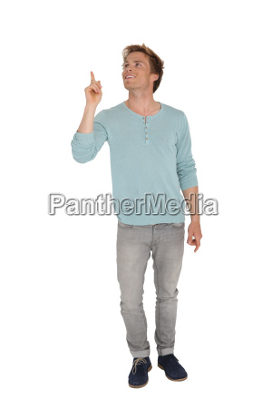 young handsome man pointing at message