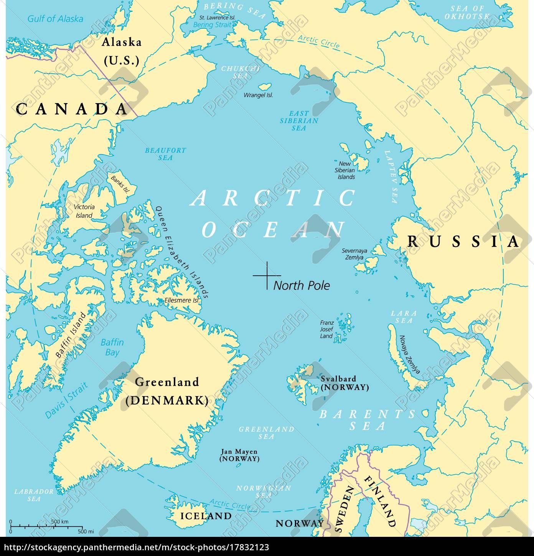 Nordpolarmeer Karte.Lizenzfreie Vektorgrafik 17832123 Nordpolarmeer Karte