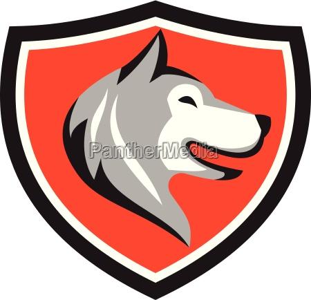 husky dog head shield retro