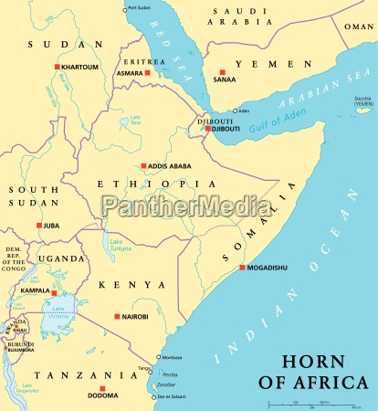 horn von afrika politische karte