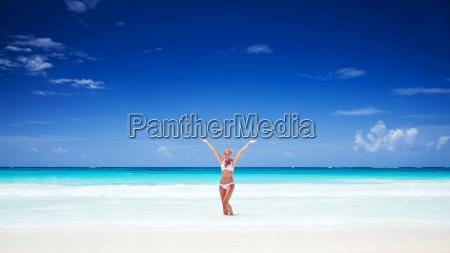 happy girl on the beach