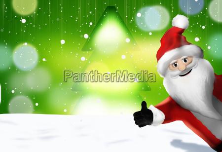 christmas santa claus thumbs up 3d