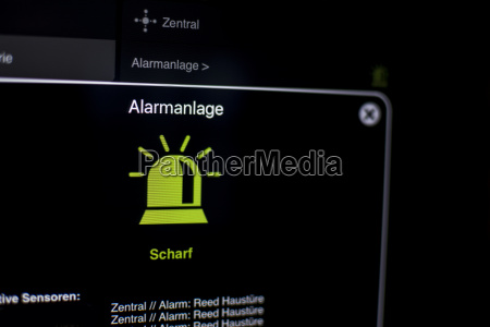 alarmanlage visualisierung am tablet mit smarthome