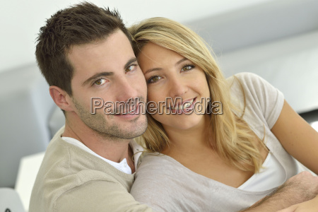 portrait of young couple relaxing at