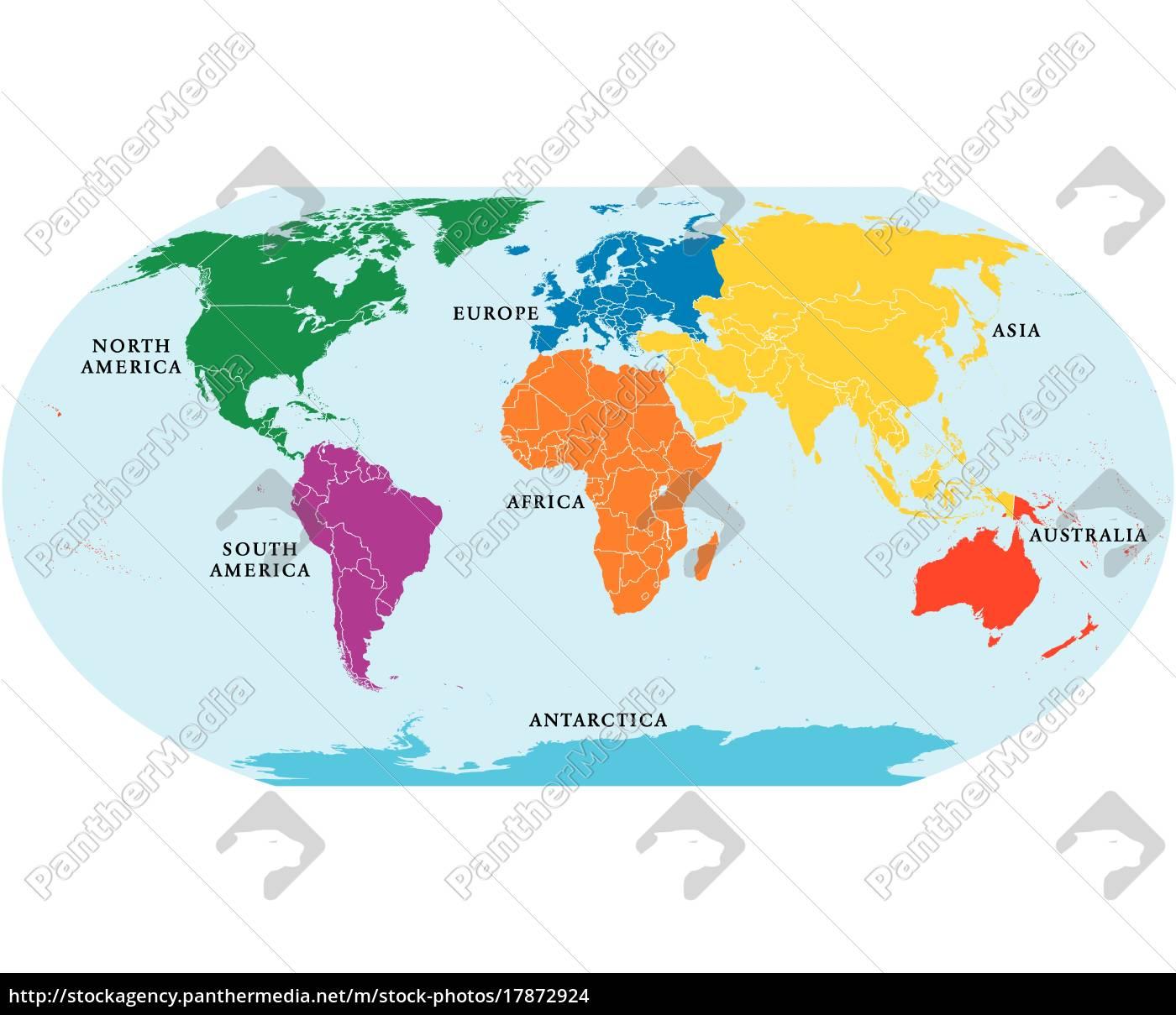 Sieben Kontinente Weltkarte Lizenzfreies Foto 17872924