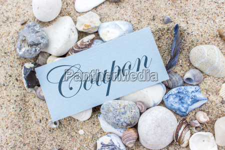 voucher with stones and shells in